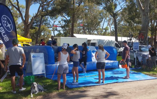 subaru do tour down under inflatable obstacle course